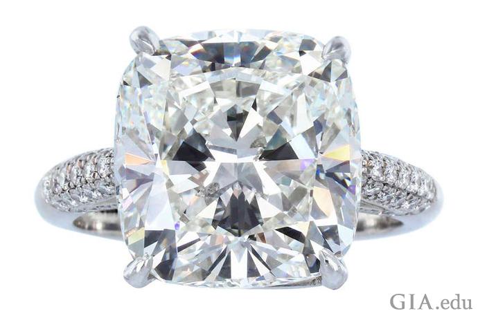 A 7.82 ct cushion cut diamond engagement ring.