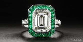 A 3.00 carat emerald cut diamond engagement ring.