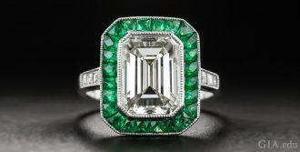A 3.00 carat emerald cut diamond engagement ring.