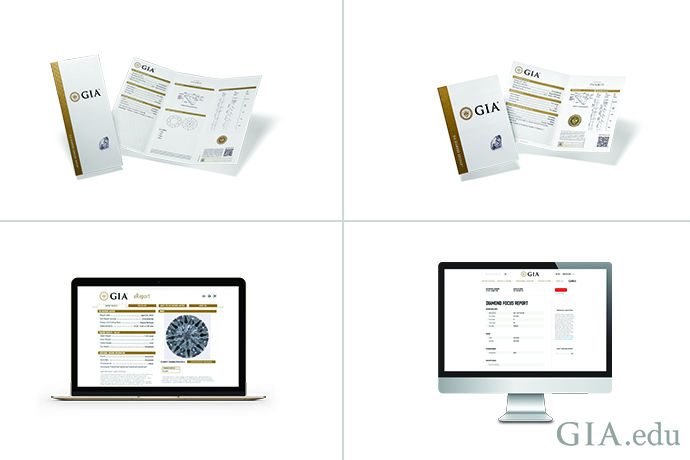 Clockwise, starting from top left: GIA Diamond Grading Report, GIA Diamond Dossier; GIA Diamond Focus TM Report, GIA Diamond eReport