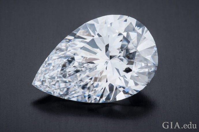 A 3.83 ct pear shaped diamond.
