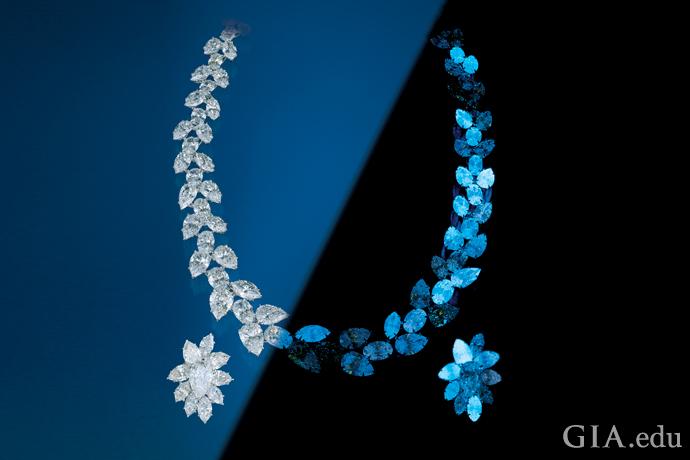 正常照明条件下(左图)和长波紫外线灯照射下(右图)的钻石项链和耳环的拼接照片。