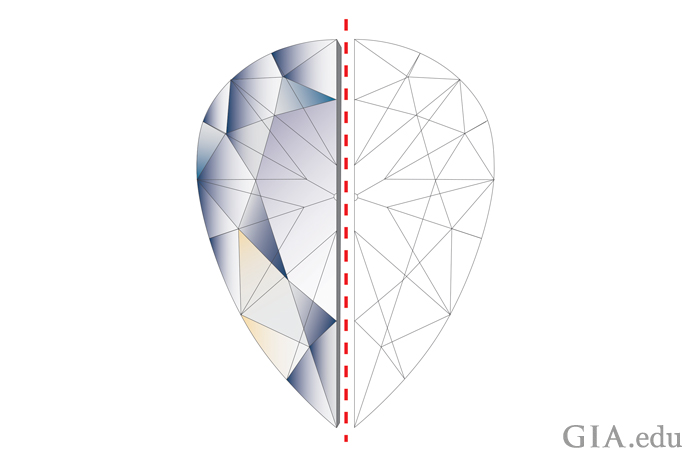 Illustration demonstrating perfect symmetry in a pear shaped diamond.