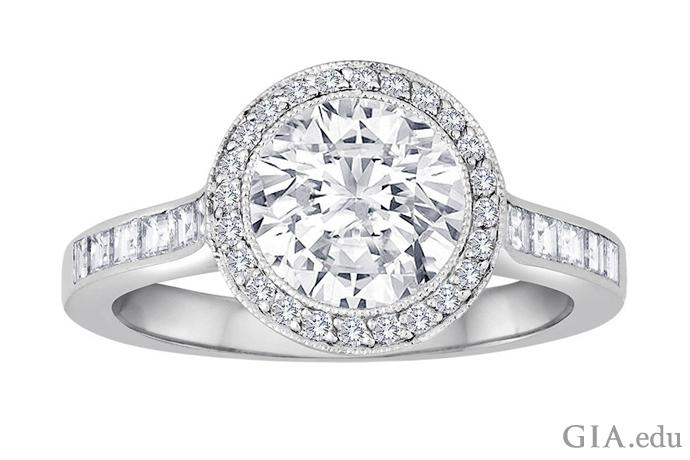 一枚镶有 1.67 克拉钻石的铂金订婚戒指,戒圈和圆形外框上镶有 0.56 克拉钻石。