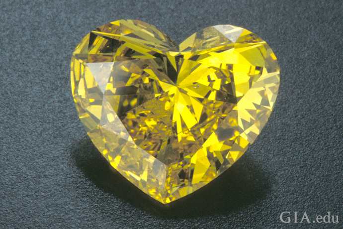 Natural intense yellow heart shaped diamond
