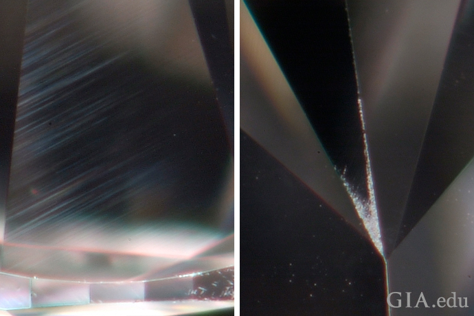 Diamond (left) showing lines created during polishing and diamond (right) with abraded facet junctions.