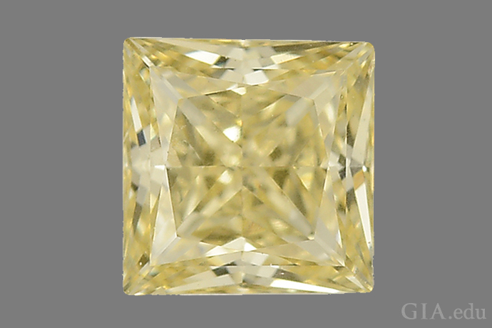 A 0.40 ct square-shaped diamond grown using the CVD process.