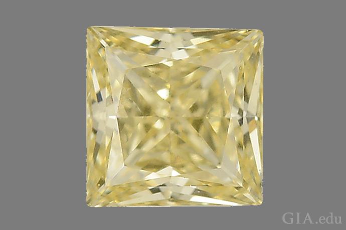 一颗采用 CVD 工艺培育而成的 0.40 克拉方形型钻石。