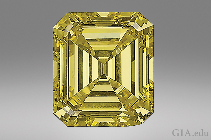 A 22.27 ct Fancy Vivid yellow emerald cut diamond that was artificially irradiated and annealed.