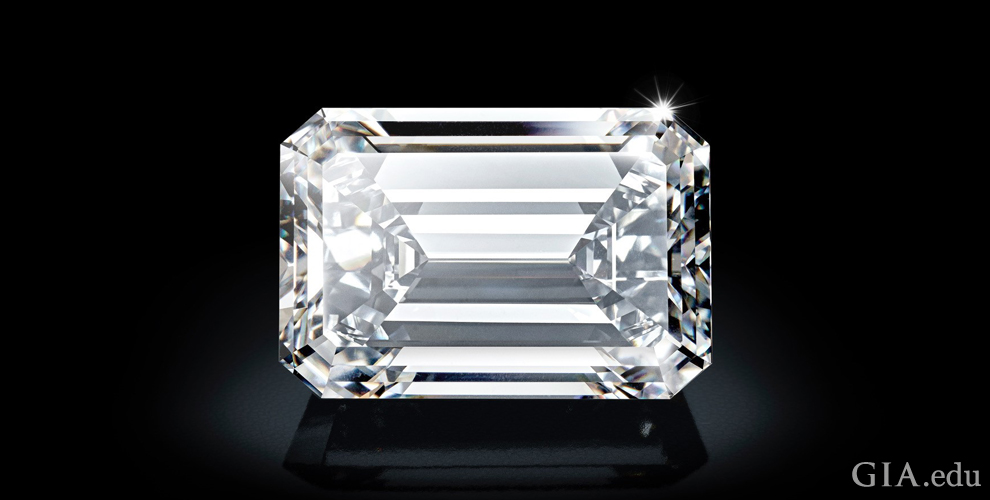 A 163.41 carat D-Flawless emerald cut diamond.