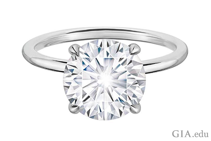 A 2.02 carat round brilliant cut diamond engagement ring with excellent cut, polish and symmetry.