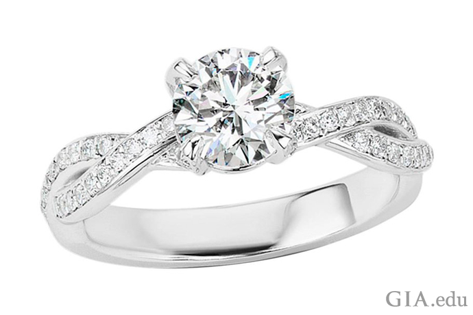 A 1.01 ct round brilliant cut diamond engagement ring that received an Excellent cut grade from GIA.