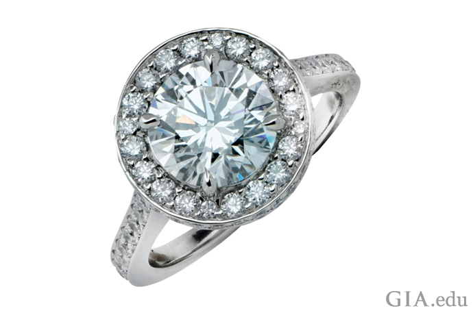 A 2.03 carat round brilliant cut diamond engagement ring with Excellent cut.