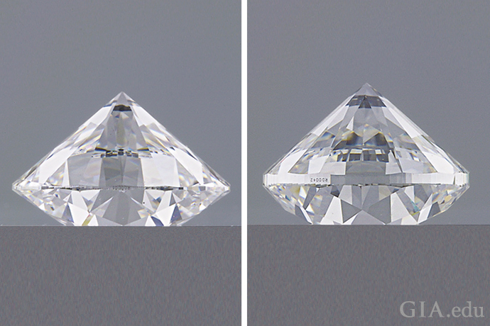 Image showing a diamond with a much thicker girdle (right) than the diamond on the left.