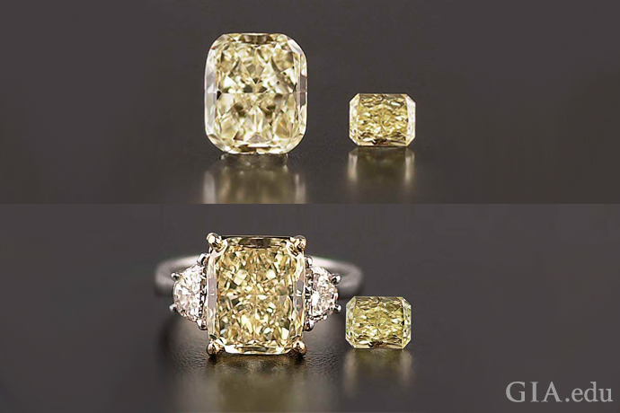 An image showing a loose yellow diamond and a mounted yellow diamond.