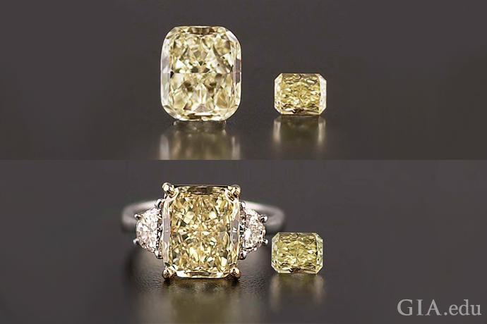 这张图展示了一颗黄色裸钻和一颗已镶嵌的黄色钻石。