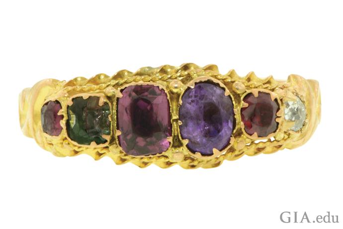 ルビー、エメラルド、ガーネット、アメシスト、ルビー、ダイヤモンドを特徴とするビクトリア朝時代のアクロスティック・リング。