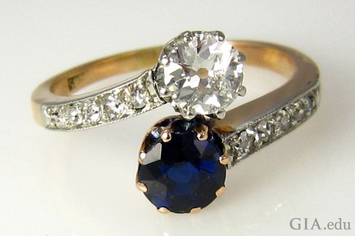 A Victorian-era diamond and sapphire bypass ring.