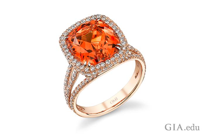 A 7.25 ct spessartine garnet ring set in rose gold.