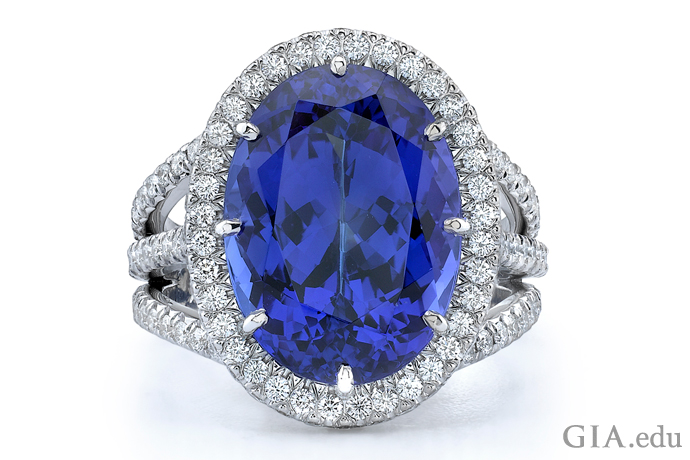 A 9.30 carat tanzanite center stone is surrounded by 1.18 carats of diamonds in this ring.