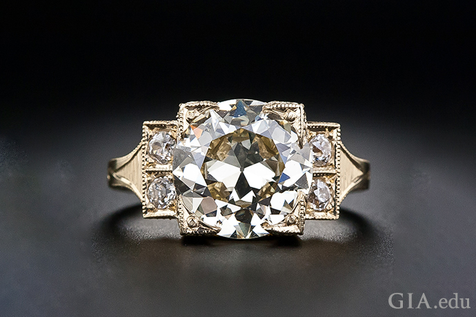 A 3.70 carat old European cut diamond engagement ring set in a contemporary 18K yellow gold mounting.