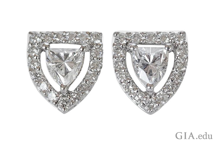 How about some armored eye candy? An imaginative designer used shield shaped diamonds and round brilliants to create something downright edgy. Take a broader look and you'll find diamond stud earrings in all styles.
