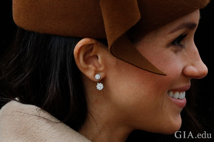 The new Duchess of Sussex, actress Meghan Markle, wears diamond stud earrings as part of her fashion statement.