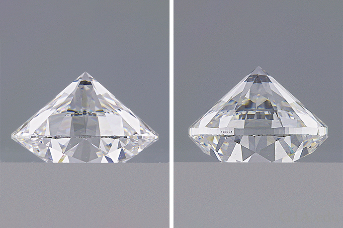 The diamond pictured left has a much thinner girdle than the diamond pictured right.