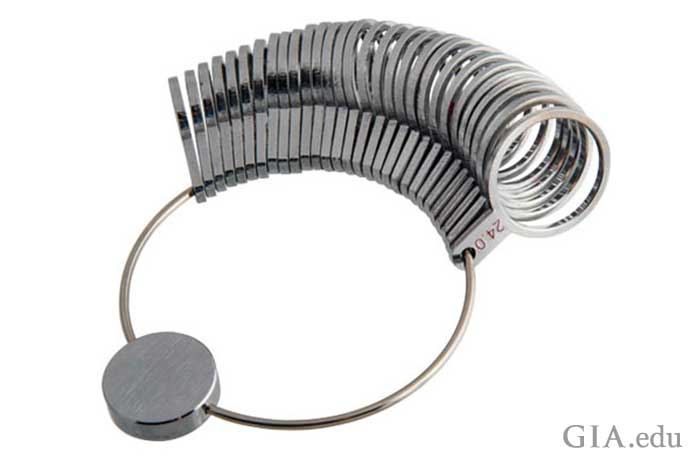 A set of finger gauges used to determine ring size.