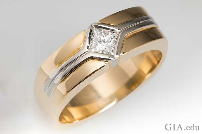 Mens diamond wedding band set in 14K gold and white gold.