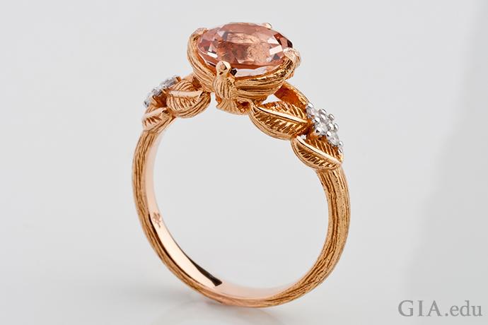 """Morganite and diamond """"Love Doves"""" ring set in 18K rose gold."""