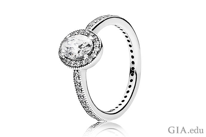 Sterling silver and cubic zirconia make for an attractive couple in a placeholder ring. Courtesy: Pandora