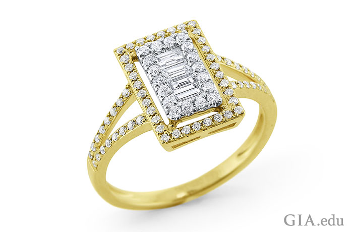 This ring features 0.57 carats of baguette and round brilliant diamonds arranged in a rectangular setting.