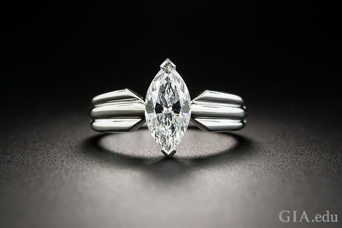 A VVS2 marquise cut diamond engagement ring.
