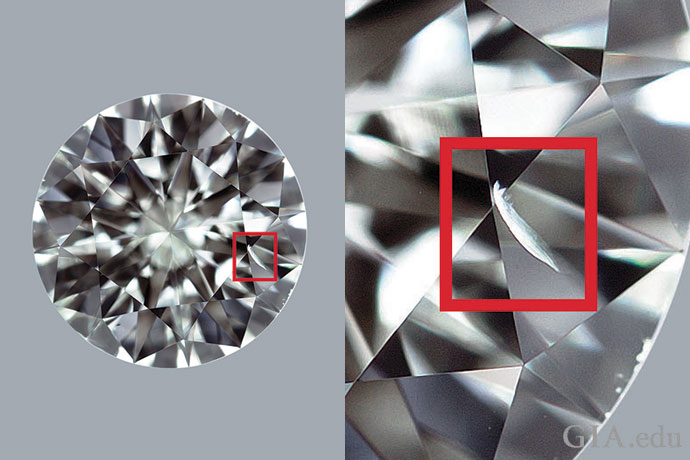 A diamond with a VS2 clarity grade. A red box surrounds a feather that is close to the table and easy to see when examined face-up at 10× magnification.