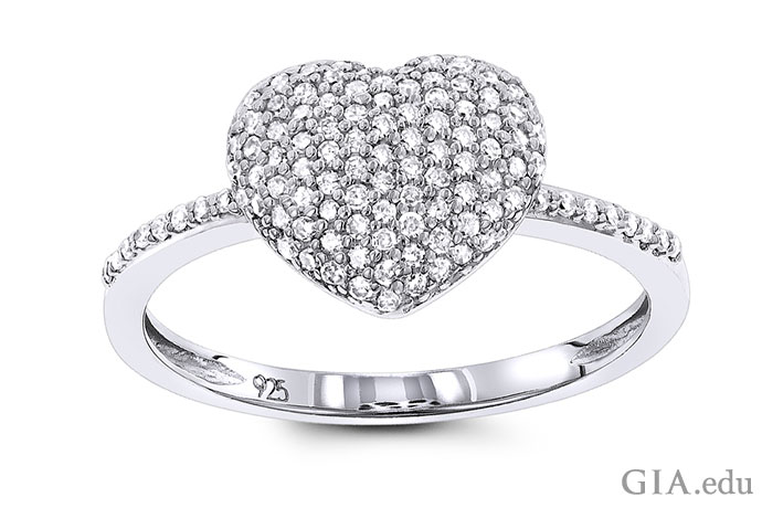 Pavé diamond heart ring with 0.33 carats of diamonds.