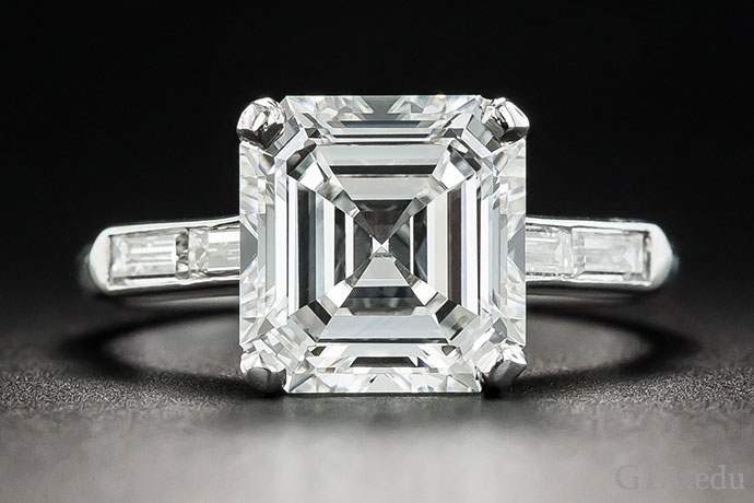 A 3.30 carat Asscher cut, H color, VVS1 clarity diamond.