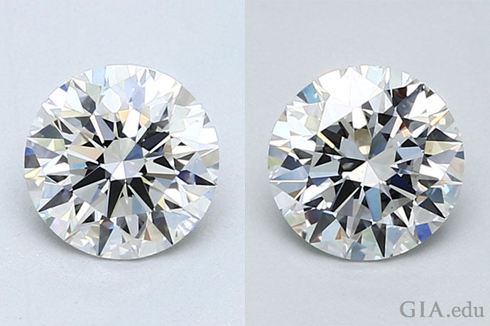 Two 1.00 carat, G color, excellent cut round brilliant diamonds with a clarity grade of VVS1 (left) and VS2 (right).