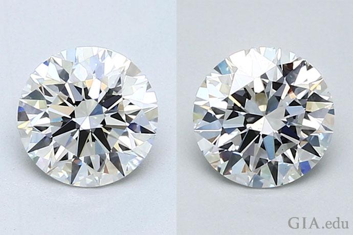 两颗 1.00 克拉、G 颜色等级、极优切工等级的圆形明亮式钻石,净度等级分别为 VVS1(左)和 VS2(右)。