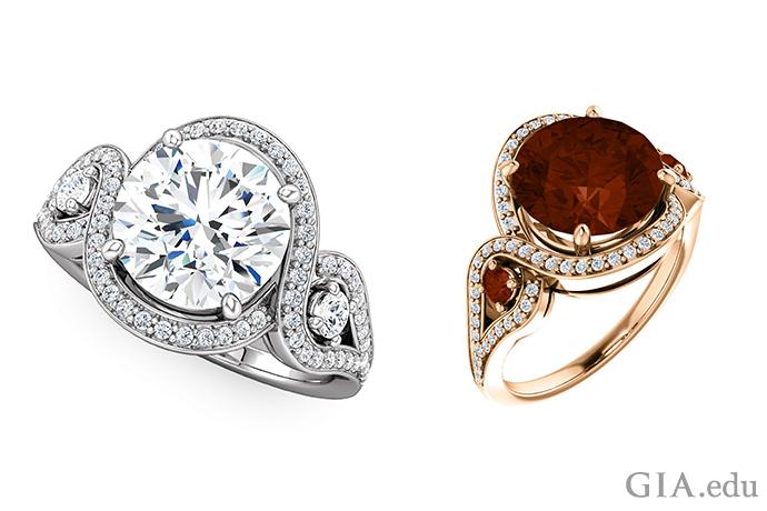 一枚 14K 白金半镶戒指,镶有一颗圆形明亮式切工的钻石(左),以及一颗 14K 玫瑰金订婚戒指,镶有一颗红色柘榴石(右)。