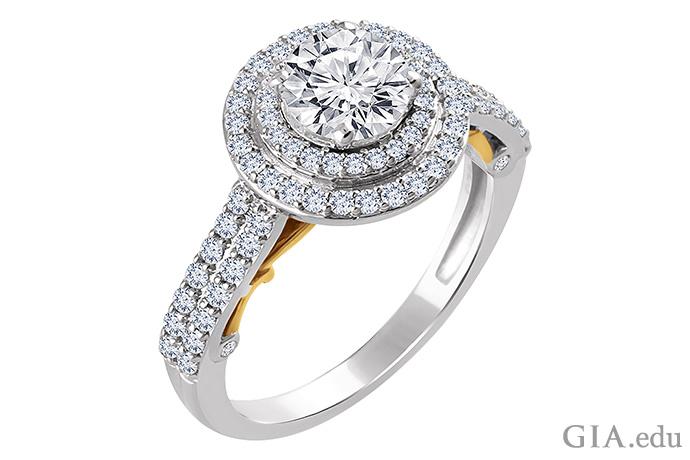 这枚双层光晕半镶戒指镶有 0.60 克拉的米粒钻,装饰着 14K 白金和黄金戒圈。