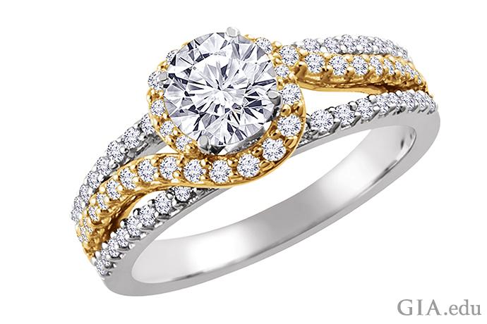 这枚 14K 黄金和白金订婚戒指镶有一颗圆形明亮式切工钻石,戒圈上镶有一圈米粒钻形成光晕。