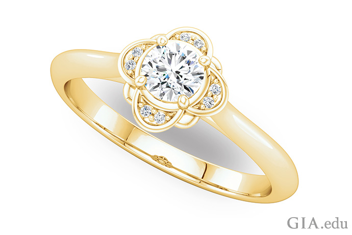 14K yellow gold semi mount ring with bead set diamonds surrounding an oval center stone.
