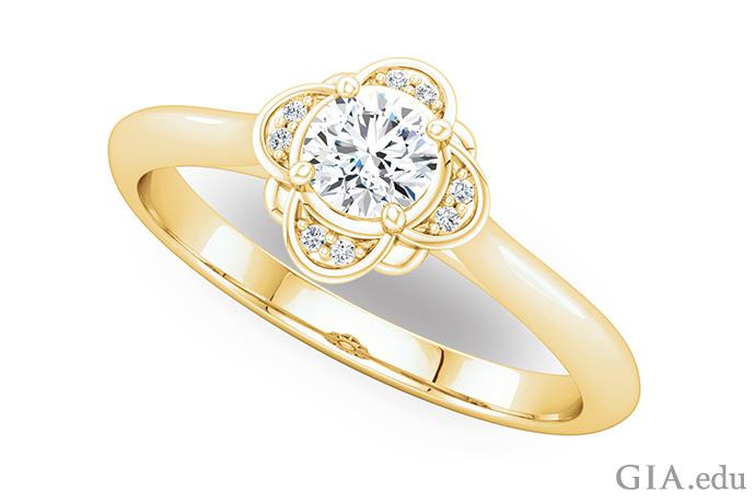 14K 黄金半镶戒指,椭圆主石周围珠镶着一圈钻石。