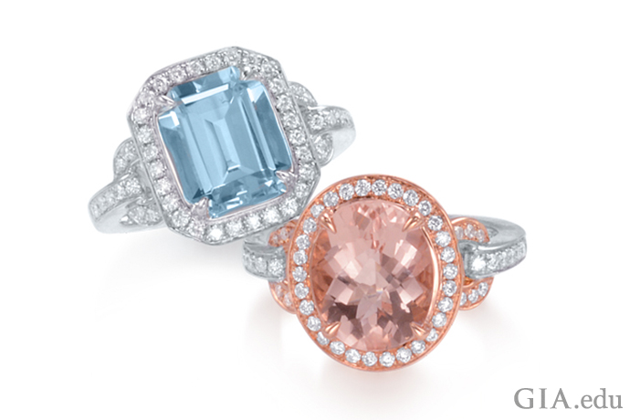 Morganite and aquamarine rings set with melee diamonds.