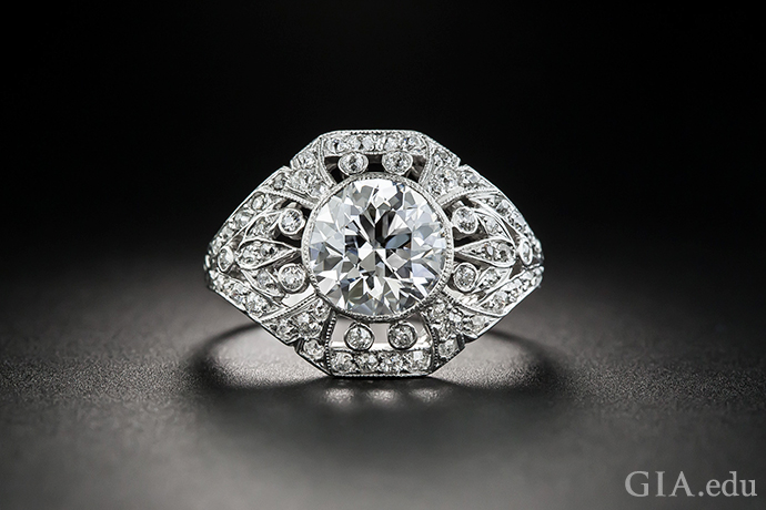 Edwardian era engagement ring featuring a 2.02 carat diamond.