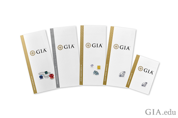 GIA diamond grading and colored gemstone reports.