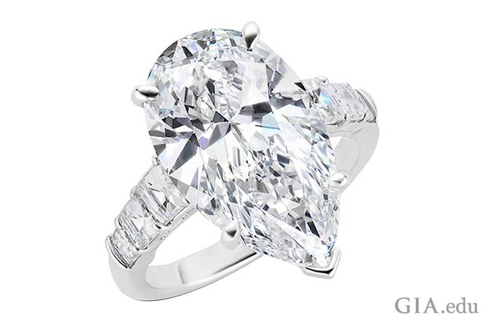 An 8.25 carat, D color, VVS2 clarity pear shaped diamond engagement ring.