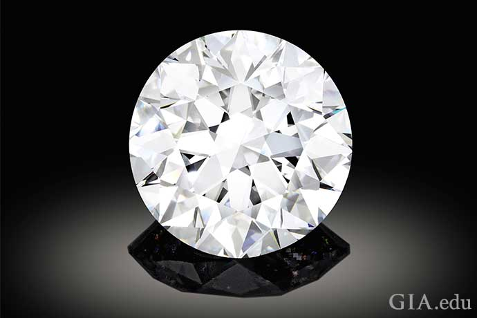 A 102.34 carat D color round brilliant cut diamond.