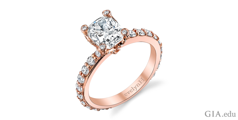Rose gold diamond engagement ring.